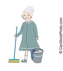 cartoon character housemaid with broom vector illustration, isolated on white background