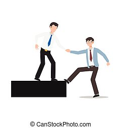 Cartoon character illustration of business friend helping each other. Business man giving hand to help. Flat design concept isolated on white.