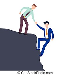 Cartoon character illustration of business friend helping each other. Business man giving hand to climb from problem. Flat design concept isolated on white.