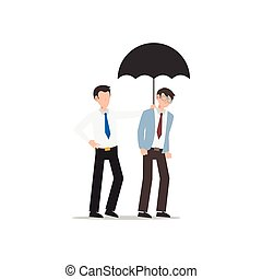 Cartoon character illustration of business friend helping each other. Business man giving umbrella. Flat design concept isolated on white.
