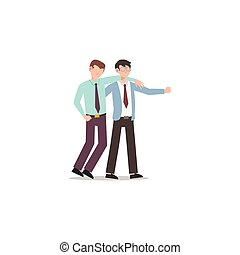 Cartoon character illustration of business friend helping each other. Business man helping to carry him friend who failed. Flat design concept isolated on white.