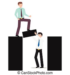 Cartoon character illustration of business friend helping each other. Business man holding the bridge while another business man crossing. Flat design concept isolated on white.