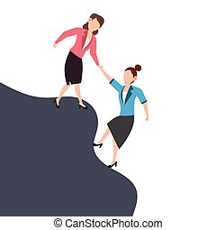Cartoon character illustration of business friend helping each other. Business woman giving hand to help. Flat design concept isolated on white.