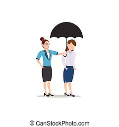 Cartoon character illustration of business friend helping each other. Business woman giving umbrella. Flat design concept isolated on white.