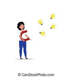 Cartoon character illustration of man thought. Flat design of young woman attracting new creative idea light bulb with magnet isolated on white.