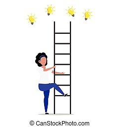 Cartoon character illustration of man thought. Flat design of young woman trying to catching new creative idea light bulb with ladder isolated on white.