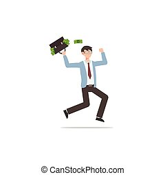 Cartoon character illustration of successful young business man bringing briefcase with full of money isolated on white.