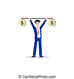 Cartoon character illustration of successful young business man training with money burble. Flat design isolated on white.
