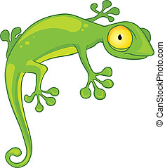Cartoon Character Lizard Isolated on White Background....