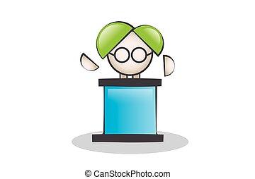 Makes Speech on the podium