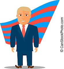 Cartoon Character Man in Blue Suit for Election. Vector