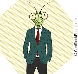 Cartoon character Mantis. - Praying mantis. Funny vector...