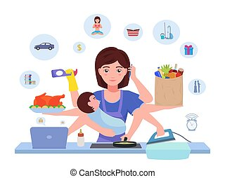 Cartoon character multitasking busy mom