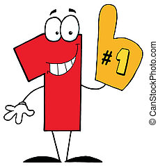 Cartoon Character Number One - Number One Character Wearing...