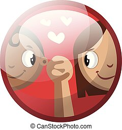 Cartoon character of a boy and a girl holding hands vector illustration in red circle on white background.