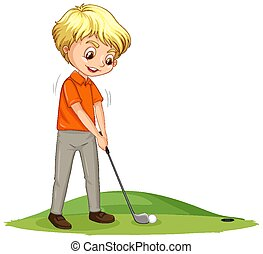 Cartoon character of a boy playing golf on white background