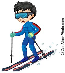 Cartoon character of a boy riding ski on white background