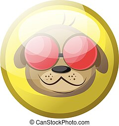 Cartoon character of a brown dog with red sunglasses smiling vector illustration in yellow circle on white background.