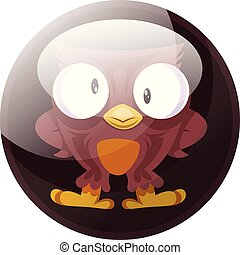 Cartoon character of a brown owl vector illustration in dark brown circle on white background.