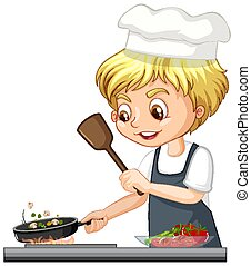 Cartoon character of a chef boy cooking food