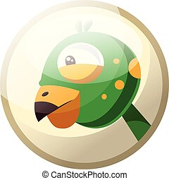 Cartoon character of a green bird head with yellow dotts vector illustration in grey light circle on white background.