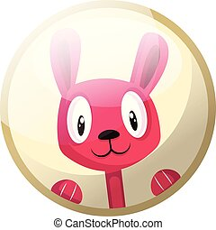 Cartoon character of a pink rabbit smiling vector illustration in light yellow circle on white background.