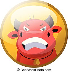 Cartoon character of a red angry bull vector illustration in yellow circle on white background.