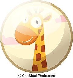 Cartoon character of a yellow giraffe with brown dots smiling vector illustration in light grey circle on white background.