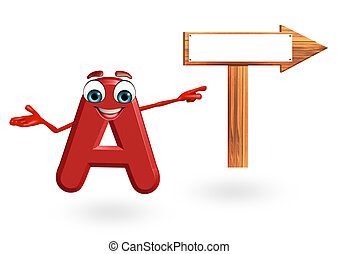 Cartoon Character of alphabet A with arrow sign