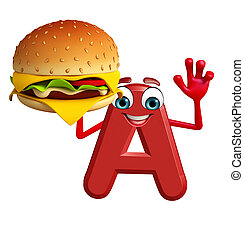 Cartoon Character of alphabet A with burger