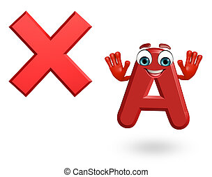 Cartoon Character of alphabet A with cross sign