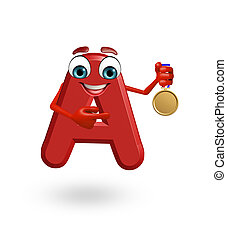 Cartoon Character of alphabet A with medal