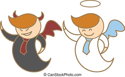 cartoon character of angel and devil