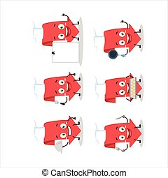 Cartoon character of arrow down with various chef emoticons....