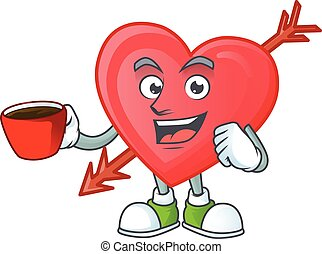 cartoon character of arrow love with a cup of coffee