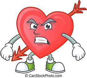 cartoon character of arrow love with angry face