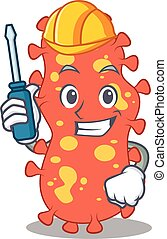 cartoon character of bacteroides worked as an automotive. ...