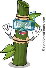 cartoon character of bamboo wearing Diving glasses