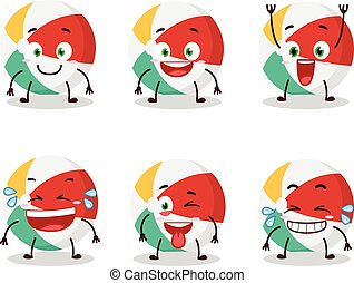 Cartoon character of beach ball with smile expression