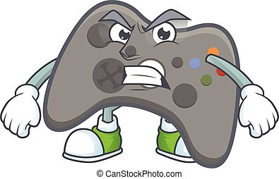 cartoon character of black joystick with angry face
