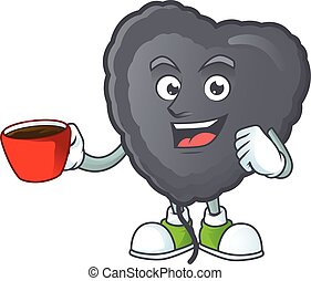 cartoon character of black love balloon with a cup of coffee