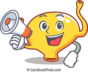 Cartoon character of bladder having a megaphone