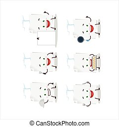 Cartoon character of blank sheet of paper with various chef emoticons