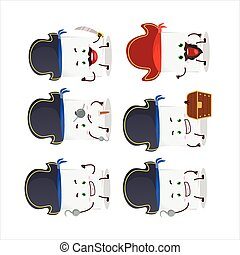 Cartoon character of blank sheet of paper with various pirates emoticons