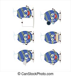 Cartoon character of blue easter egg with various chef emoticons