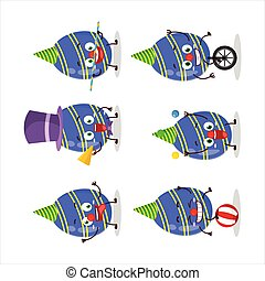 Cartoon character of blue easter egg with various circus shows