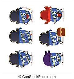 Cartoon character of blue easter egg with various pirates emoticons
