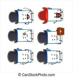 Cartoon character of blue manila folder with various pirates...