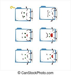Cartoon character of blue manila folder with what expression...