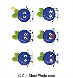 Cartoon character of blueberry with what expression.Vector ...